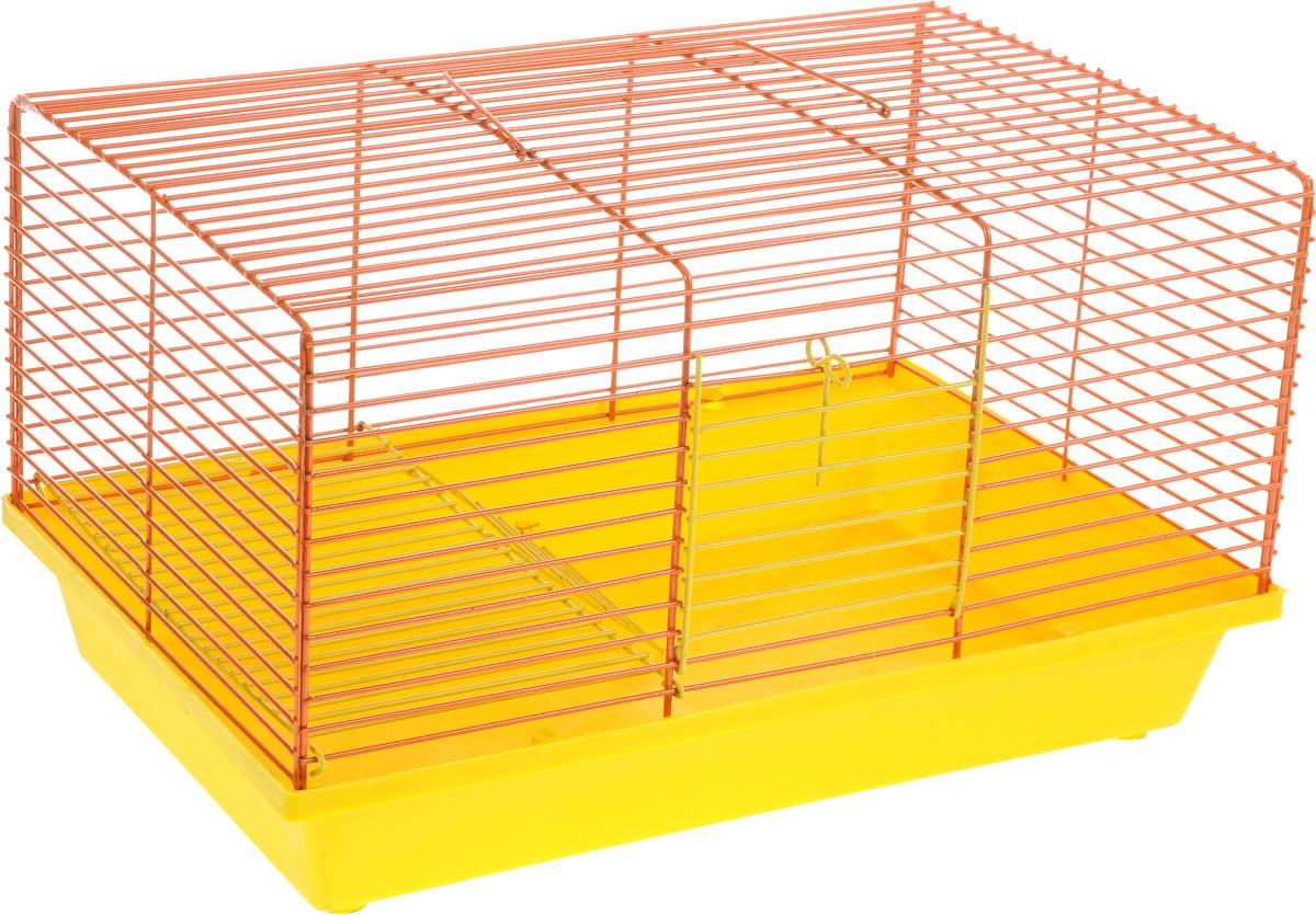 Клетка для хомяка ЗооМарк, 2-этажная, цвет: желтый поддон, оранжевая решетка, 36 х 23 х 20 см111ЖОДвухэтажная клетка Зоомарк, выполненная из полипропилена и металла, подходит для хомяков или других небольших грызунов. Она имеет яркий поддон, удобна в использовании и легко чистится. Сверху имеется ручка для переноски. Такая клетка станет уединенным личным пространством и уютным домиком для маленького грызуна.