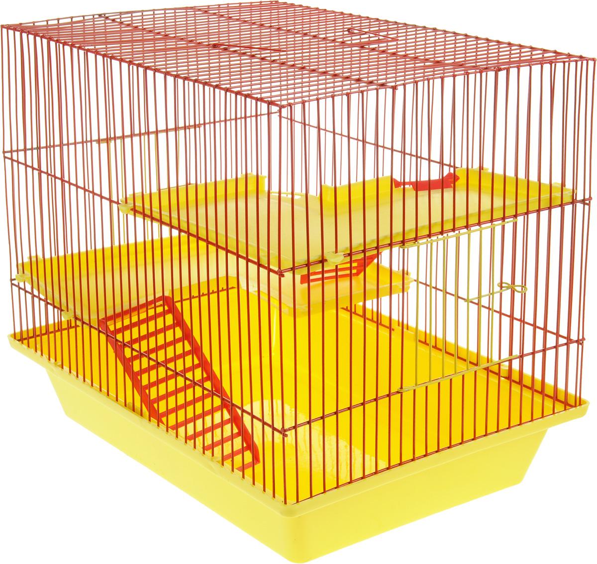 Клетка для грызунов ЗооМарк Гризли, 3-этажная, цвет: желтый поддон, красная решетка, желтые этажи, 41 х 30 х 36 см230ЖККлетка ЗооМарк Гризли, выполненная из полипропилена и металла, подходит для мелких грызунов. Изделие трехэтажное. Клетка имеет яркий поддон, удобна в использовании и легко чистится. Сверху имеется ручка для переноски. Такая клетка станет уединенным личным пространством и уютным домиком для маленького грызуна.