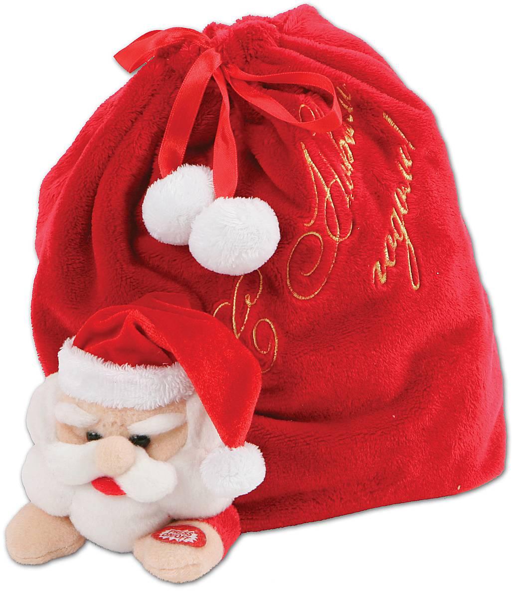 Мешок для подарков Mister Christmas С Новым годом, длина 22 смSS-76/1Купили новогодний подарок, но не знаете, как его упаковать? Оригинальной упаковкой станет новогодний музыкальный мешок для подарков Mister Christmas С Новым годом. Он уже выглядит как подарок благодаря своей функциональности. Он представляет собой композицию: Дед Мороз, который несет огромный мешок с подарками. А если пожать руку Дедушке Морозу, то он начнет издавать забавные звуки. Музыкальный мешок сделан из качественного мягкого текстиля красного цвета, очень приятного на ощупь. Закрывается при помощи атласных тесемок, украшенных белыми пушистыми помпонами. Он напоминает плюшевую игрушку. Новогодний музыкальный мешок для подарков Mister Christmas подойдет для упаковки небольших символических или весьма дорогих сюрпризов. Получить подарок в такой уникальной и модной упаковке будет приятно как детям, так и взрослым. Никто не останется равнодушным и каждый обязательно будет тронут таким знаком внимания.