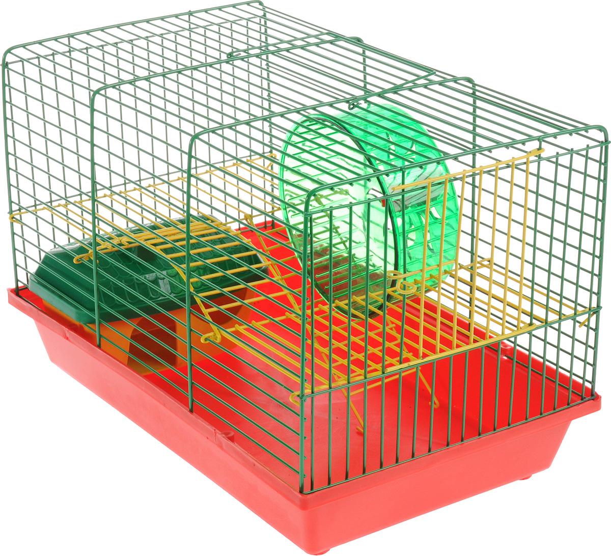 Клетка для грызунов Зоомарк Венеция, 2-этажная, цвет: красный поддон, зеленая решетка, желтый этаж, 36 х 23 х 24 см0120710Клетка Венеция, выполненная из полипропилена и металла, подходит для мелких грызунов. Изделие двухэтажное, оборудовано колесом для подвижных игр и пластиковым домиком. Клетка имеет яркий поддон, удобна в использовании и легко чистится. Сверху имеется ручка для переноски. Такая клетка станет уединенным личным пространством и уютным домиком для маленького грызуна.