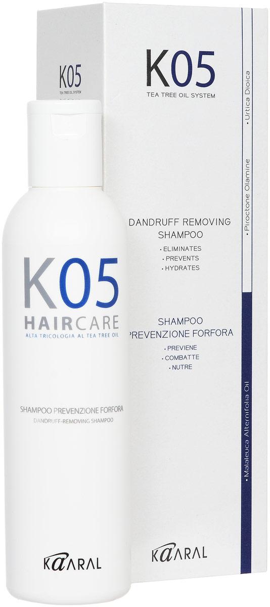 Kaaral Шампунь против перхоти К05 Shampoo Antiforfora, 250 мл1053Увлажняющее и успокаивающее действие шампуня обеспечивает качественное очищение сухой кожи головы. Предотвращает шелушение и воспаление кожного покрова, а также появление перхоти.