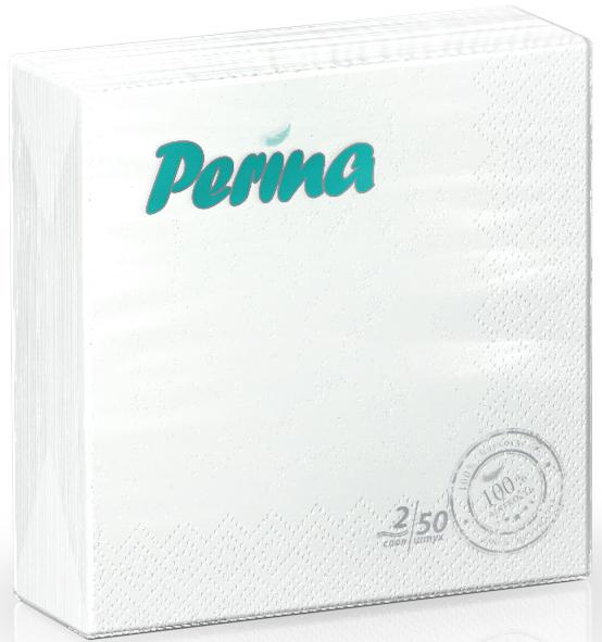 Салфетки бумажные Perina, 2-слойные, цвет: белый, 50 штPUL-000275
