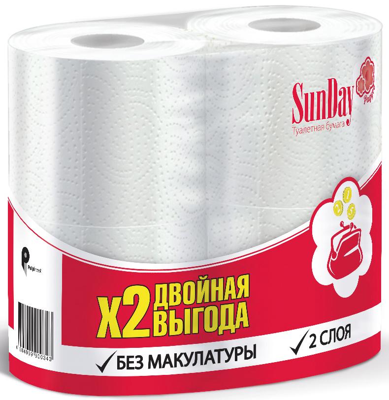 Туалетная бумага SunDay, 2-слойная, цвет: белый, 4 рулонаPUL-000343