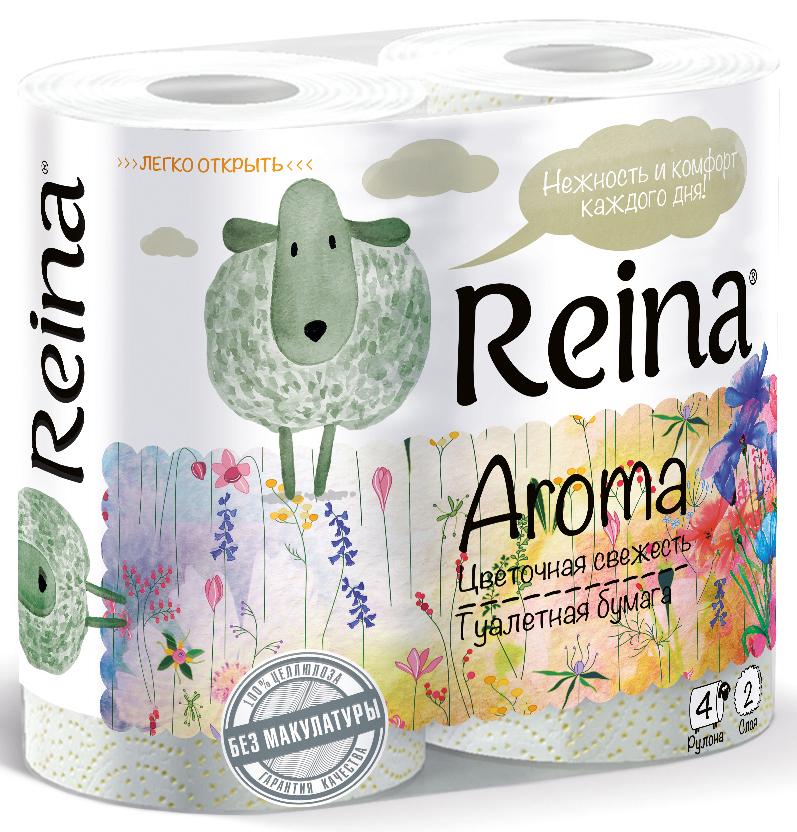 Туалетная бумага Reina Aroma. Цветочная свежесть, ароматизированная, 2-слойная, 4 рулонаPUL-000510