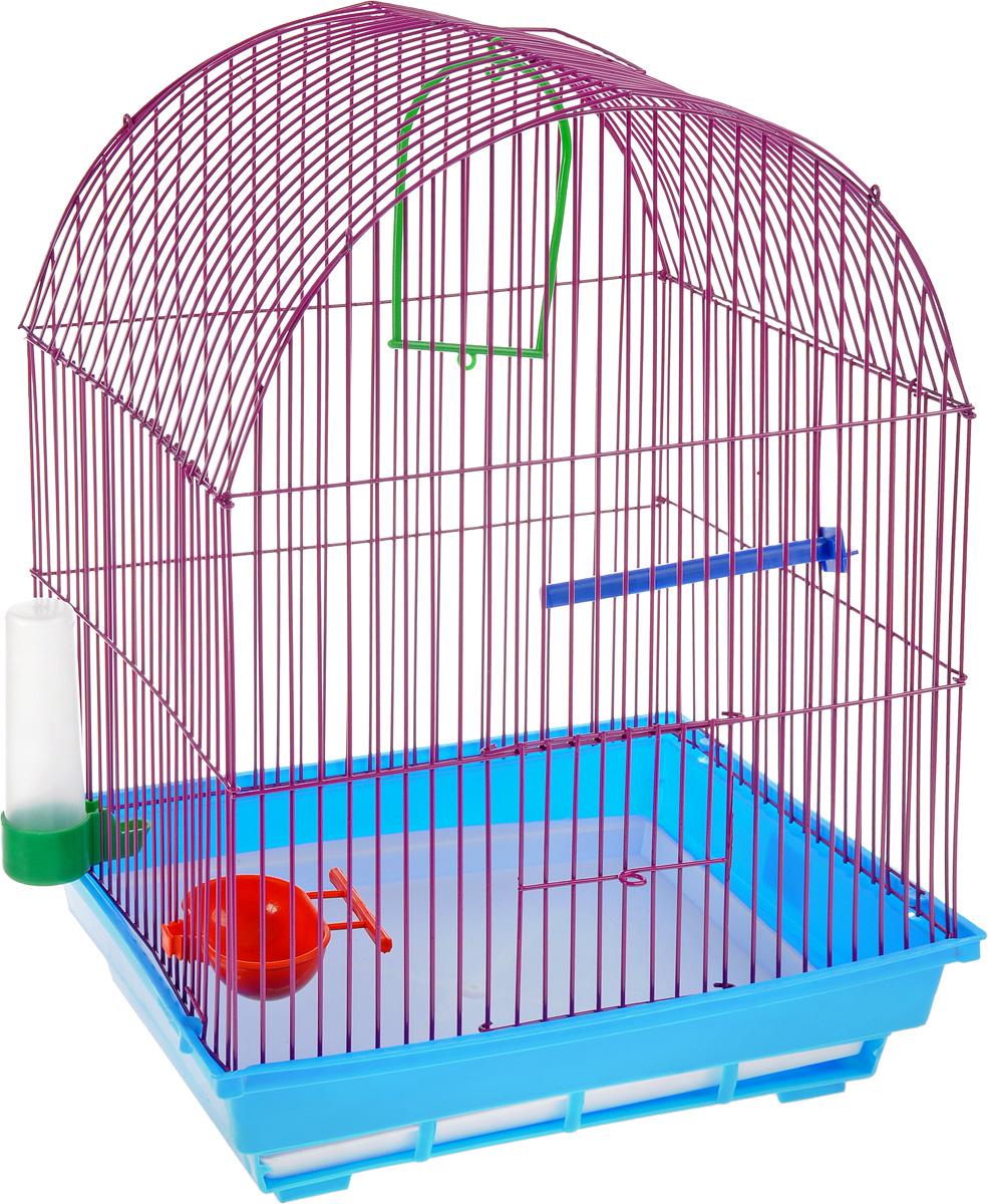 Клетка для птиц ЗооМарк, цвет: синий поддон, фиолетовая решетка, 35 х 28 х 45 см0120710Клетка ЗооМарк, выполненная из полипропилена и металла, предназначена для мелких птиц. Вы можете поселить в нее одну или две птицы. Изделие состоит из большого поддона и решетки. Клетка снабжена металлической дверцей, которая открывается и закрывается движением вверх-вниз. В основании клетки находится малый поддон. Клетка удобна в использовании и легко чистится. Она оснащена жердочкой, кольцом для птицы, кормушкой, поилкой и подвижной ручкой для удобной переноски.