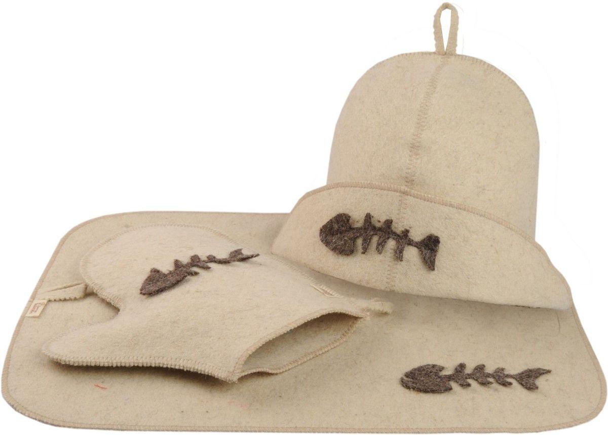 Набор для бани и сауны Доктор баня Рыбак, 3 предмета8438Набор для бани и сауны Доктор баня Рыбак, выполненный из белого войлока, привлечет внимание любителей модных тенденций в банной одежде. В набор входят все необходимые аксессуары, для того чтобы банный поход принес вам только радость. Набор состоит из коврика, шапки и рукавицы. Шапка - незаменимая вещь в парной. Она необходима для того, чтобы не перегреть голову, также она должна хорошо впитывать влагу. Коврик убережет вас от горячей полки, защитит вас в общественной бане, а варежка обезопасит ваши руки от горячего пара или ручки ковша. Рукавицей можно также прекрасно помассировать тело. Все предметы набора оформлены аппликацией в виде рыбного скелета. Характеристики: Материал: войлок. Диаметр основания шапки: 35 см. Высота шапки: 21 см. Размер рукавицы: 22,5 см х 25 см. Размер коврика: 33 см х 50 см.