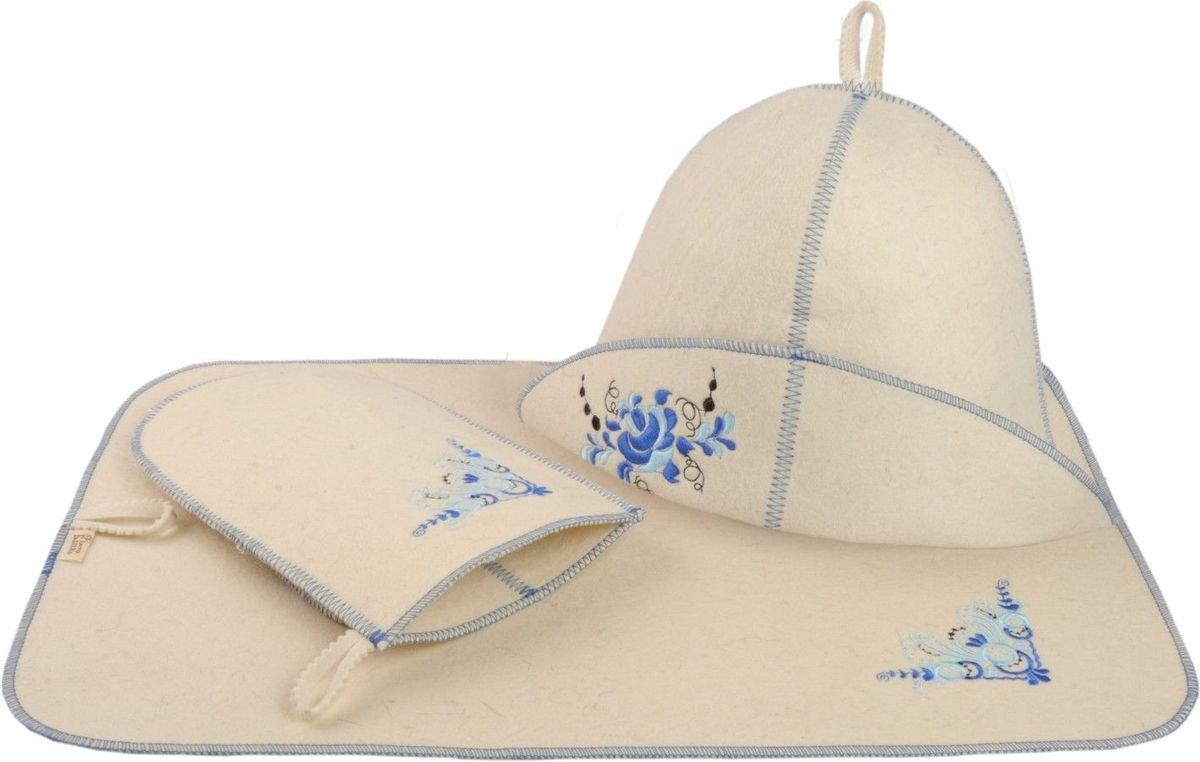 Набор для бани и сауны Гжель, 3 предмета903944В комплект для бани и сауны Гжель входит все самое необходимое, чтобы сделать пребывание в парной комфортным - шапка, рукавица и коврик. Выполненные из натурального войлока, предметы комплекта обладают великолепными гигроскопичными свойствами, защищают от высоких температур в парной. Оригинальный дизайн и эргономичность изделий добавят эстетики банным процедурам. Характеристики: Материал: 100% шерсть. Диаметр шапки по нижнему краю: 32 см. Высота шапки (наибольшая): 21 см. Длина рукавицы: 25,5 см. Размер коврика: 50 см х 33 см. Размер упаковки: 33 см х 25 см х 7,5 см. Производитель: Россия.