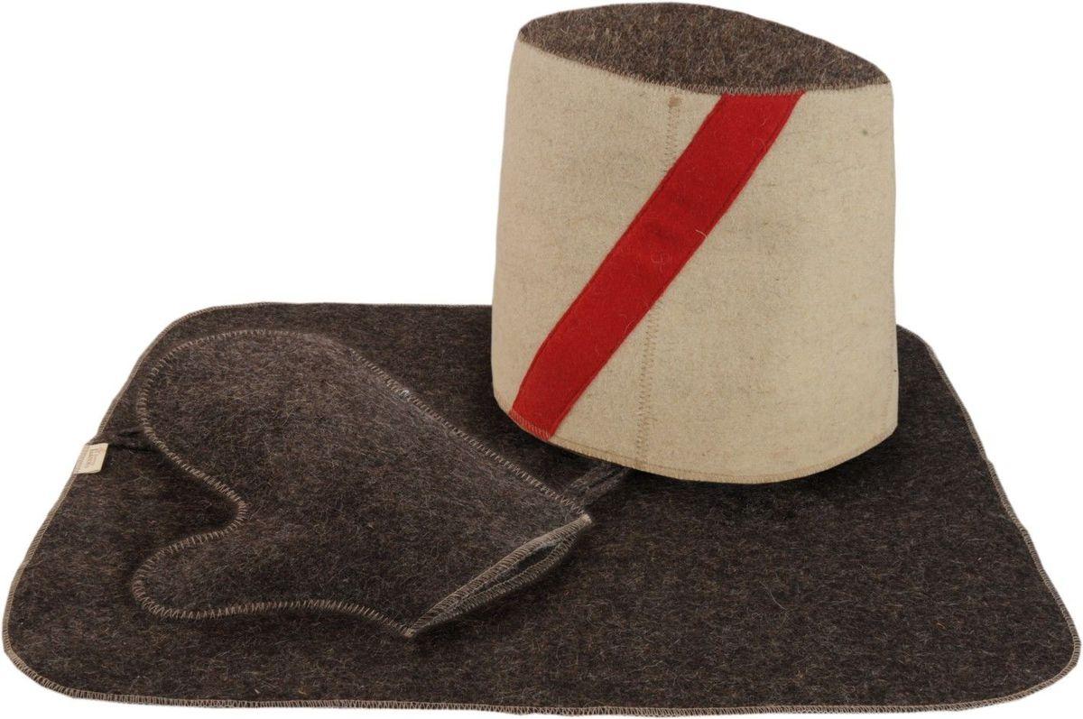 Набор для бани и сауны Доктор баня Атаман, 3 предмета904615В комплект для бани и сауны Доктор баня Атаман входит все самое необходимое, чтобы сделать пребывание в парной комфортным - шапка, рукавица и коврик. Выполненные из войлока (80% шерсть, 20% полиэфирные волокна) предметы комплекта обладают великолепными гигроскопичными свойствами и защищают от высоких температур в парной. Оригинальный дизайн изделий добавит эстетики банным процедурам. Размер шапки: 24 х 31 см. Размер коврика: 48 х 33 см. Размер рукавицы: 22,5 х 26,5 см.
