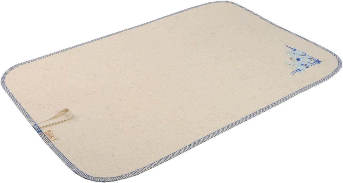 Коврик для бани и сауны Гжель, 50 см х 33 см905005Коврик - необходимый банный аксессуар. Является средством личной гигиены, защищает открытые части тела парильщика от перегретых поверхностей полок, лавок в парной бани или сауны. Коврик оформлен вышивкой в стиле гжель. Благодаря специальной петельке, коврик можно подвесить на стенку.