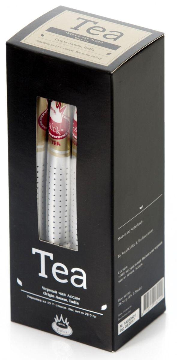 Royal T-Stick High Tea черный чай в стиках, 15 шт0120710Чай Ассам порадует вас насыщенным янтарно-красным цветом, терпким ароматом и пряным, солодово-медовым вкусом. Пейте чай Royal T-stick, наслаждайтесь незабываемым вкусом, идите в ногу со временем. Чай упакован в пищевую фольгу, которую можно использовать вместо ложечки для размешивания сахара. Опустите стик в кипяток, оставьте на 3 минуты, размешайте кусочек сахара. Достаньте стик из стакана, потрясите им о край стакана, так, чтобы стекли последние капли, и положите рядом. Вся влага останется внутри стика. Вам не придется больше выжимать чайный пакетик и испытывать неловкость перед незнакомыми людьми.