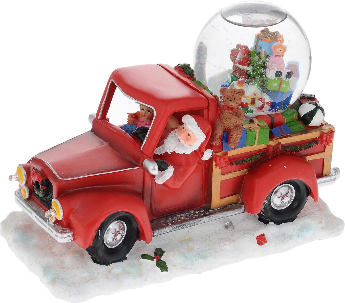 Украшение новогоднее декоративное Win Max Дед Мороз, с водяным шаром, музыкальное119228Украшение новогоднее декоративное Win Max Дед Мороз прекрасно подойдет для праздничного декора вашего дома. Изделие выполнено из полистоуна в виде красного грузовика с подарками, за рулем которого Дед Мороз. Украшение дополнено водяным шаром с безопасной нетоксичной жидкостью внутри. Если включить тумблер с задней стороны машинки, то зазвучит мелодия Jingle Bells, загорятся разноцветные лампочки, и снежинки в водяном шаре придут в движение. Новогодние украшения несут в себе волшебство и красоту праздника. Они помогут вам украсить дом к предстоящим праздникам и оживить интерьер. Создайте в доме атмосферу тепла, веселья и радости, украшая его всей семьей. Кроме того, такая фигурка станет приятным подарком, который надолго сохранит память этого волшебного времени года. Украшение работает от 3 батареек типа АА (в комплект не входят). Диаметр водяного шара: 9 см.
