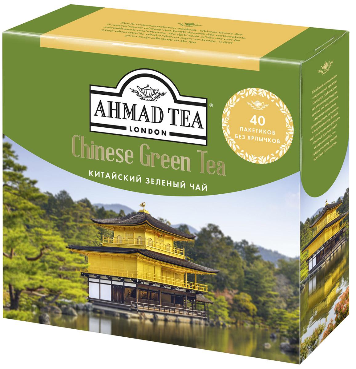 Ahmad Tea Китайский зеленый чай в пакетиках для заваривания в чайнике, 40 шт1584LYКитайский зеленый чай Ahmad Tea - сокровищница природы. Благодаря особенностям технологии производства зеленый чай максимально сохраняет присутствие антиоксидантов, витаминов и микроэлементов. Легкий вкус этого чая можно украсить ложечкой тростникового сахара, меда, что придаст напитку нежное ореховое послевкусие. Уважаемые клиенты! Обращаем ваше внимание на то, что упаковка может иметь несколько видов дизайна. Поставка осуществляется в зависимости от наличия на складе.