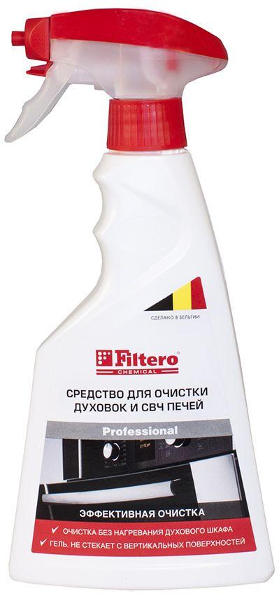 Filtero средство для чистки духовок и СВЧ-печей, 500 мл411Средство Filtero предназначено для очистки духовок, грилей, СВЧ, вытяжек, противней, форм для выпечки, кастрюль, сковородок. Благодаря густой гелеобразной консистенции, держится на вертикальных поверхностях не растекаясь, позволяя средству действовать в течение длительного времени для достижения максимального эффекта.