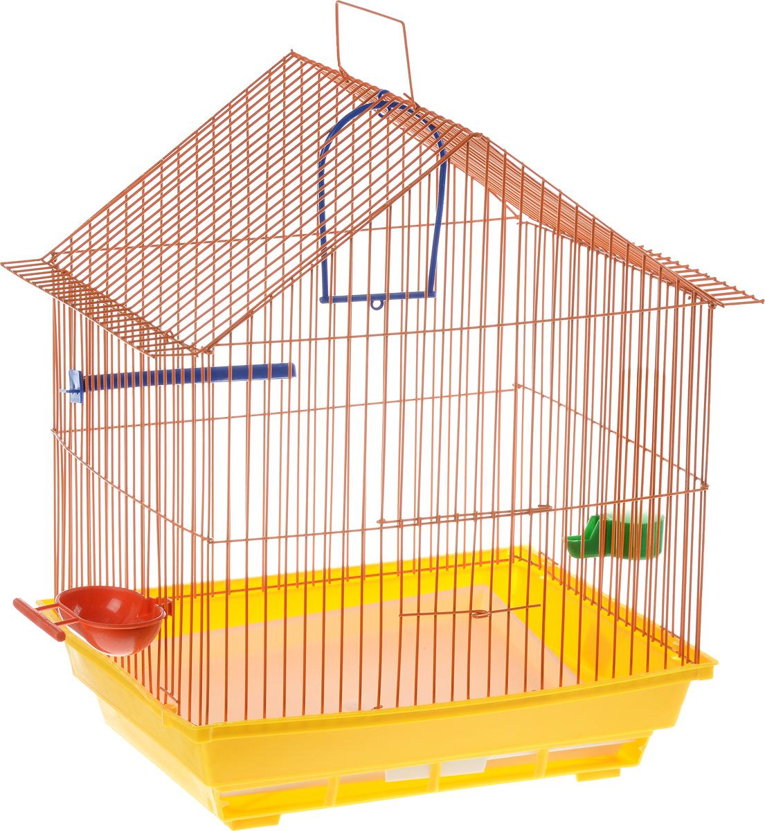 Клетка для птиц ЗооМарк, цвет: желтый поддон, оранжевая решетка, 39 х 28 х 42 см410_желтый, оранжевыйКлетка ЗооМарк, выполненная из полипропилена и металла с эмалированным покрытием, предназначена для мелких птиц. Изделие состоит из большого поддона и решетки. Клетка снабжена металлической дверцей. В основании клетки находится малый поддон. Клетка удобна в использовании и легко чистится. Она оснащена кольцом для птицы, поилкой, кормушкой и подвижной ручкой для удобной переноски. Комплектация: - клетка с поддоном; - малый поддон; - поилка; - кормушка; - кольцо.