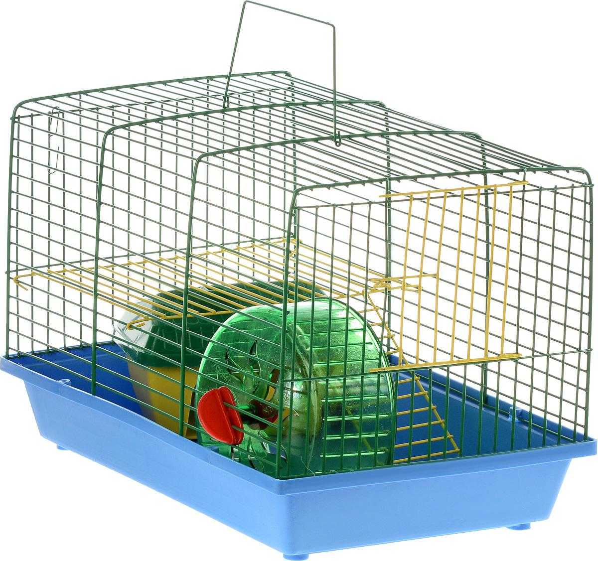 Клетка для грызунов ЗооМарк, 2-этажная, цвет: голубой поддон, зеленая решетка, желтый этаж, 36 х 22 х 24 см125_голубой, зеленый, желтыйКлетка ЗооМарк, выполненная из полипропилена и металла, подходит для мелких грызунов. Изделие двухэтажное, оборудовано колесом для подвижных игр и пластиковым домиком. Клетка имеет яркий поддон, удобна в использовании и легко чистится. Сверху имеется ручка для переноски, а сбоку удобная дверца. Такая клетка станет уединенным личным пространством и уютным домиком для маленького грызуна.