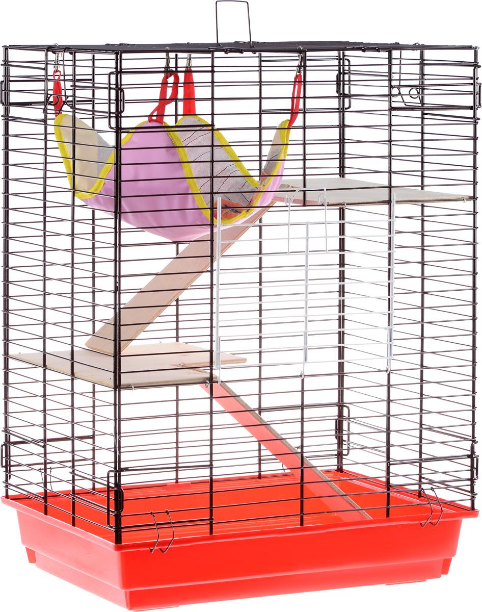 Клетка для шиншилл и хорьков ЗооМарк, цвет: красный поддон, коричневая решетка, 59 х 41 х 79 см0120710Клетка ЗооМарк, выполненная из полипропилена и металла, подходит для шиншилл и хорьков. Большая клетка оборудована длинными лестницами и гамаком. Изделие имеет яркий поддон, удобно в использовании и легко чистится. Сверху имеется ручка для переноски. Такая клетка станет уединенным личным пространством и уютным домиком для грызуна.