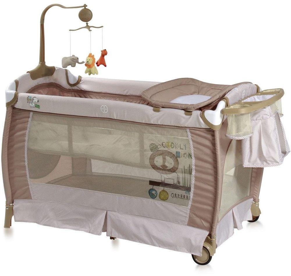 Lorelli Манеж-кроватка SleepNDream цвет бежевый94672Манеж-кроватка Lorelli SleepNDream - практичная и компактная модель, которая поможет родителям на время ограничить перемещение малыша по дому и сделает его пребывание абсолютно безопасным. Плюсом модели является два уровня высоты ложа. Первый уровень используется для новорожденных. Когда ребенок подрастет, дно можно опустить на второй уровень и использовать манеж не опасаясь, что ребенок вывалится из него.Особенности:Удобный пеленальный столикСбоку отверстие на молнииКолесики для перемещения по полуКомпактное складываниеМузыкальная карусель с подвесными игрушкамиПодставка для аксессуаров и мелочей