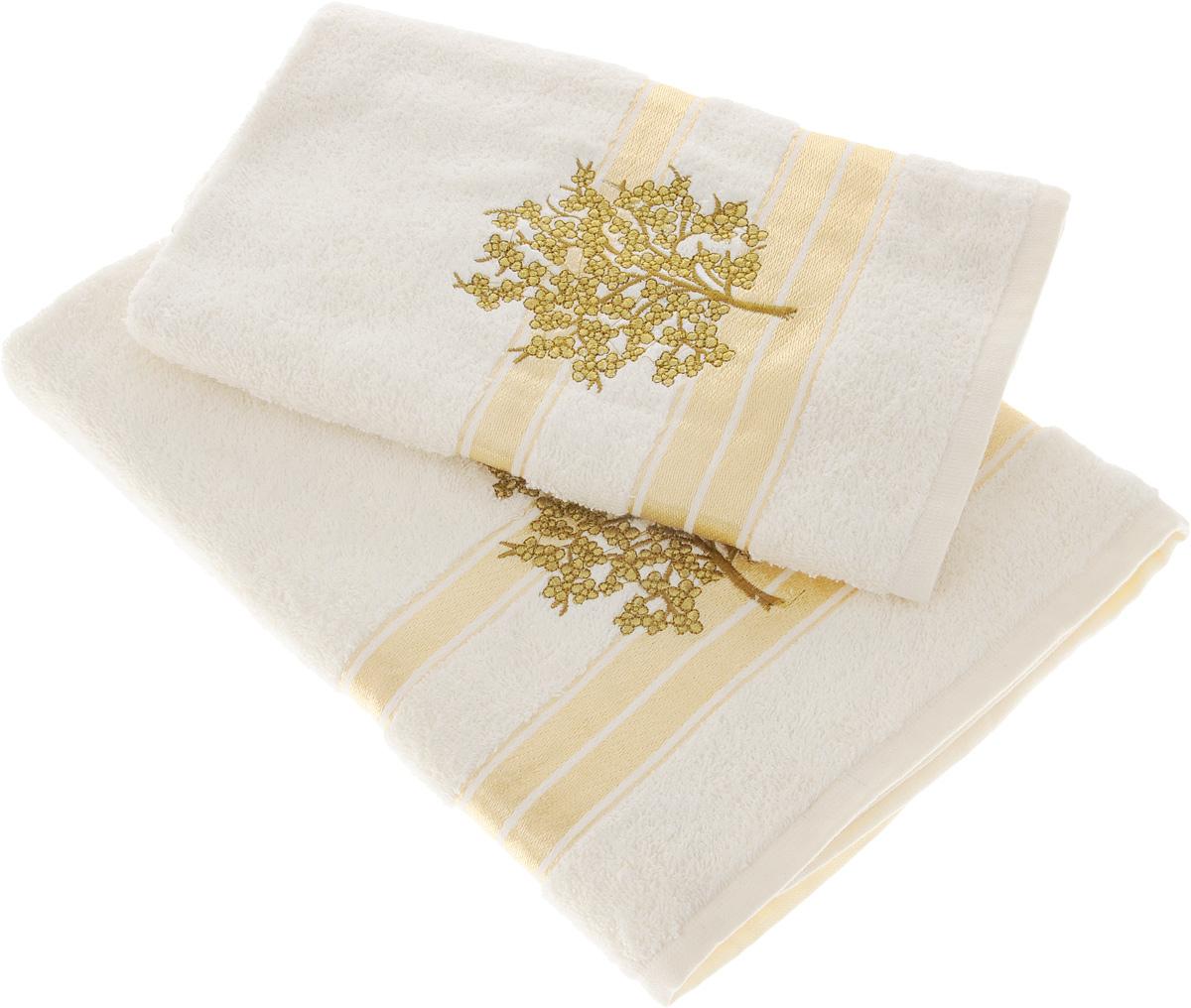 Набор полотенец Tete-a-Tete Золотое дерево, 2 штУНП-102-01Набор Tete-a-Tete Золотое дерево состоит из двух махровых полотенец, выполненных из натурального 100% хлопка. Линейка Золотое дерево декорирована вышивкой веточки сакуры. Изделия мягкие, отлично впитывают влагу, быстро сохнут, сохраняют яркость цвета и не теряют форму даже после многократных стирок. Полотенца Tete-a-Tete Золотое дерево очень практичны и неприхотливы в уходе. Они легко впишутся в любой интерьер благодаря своей нежной цветовой гамме.