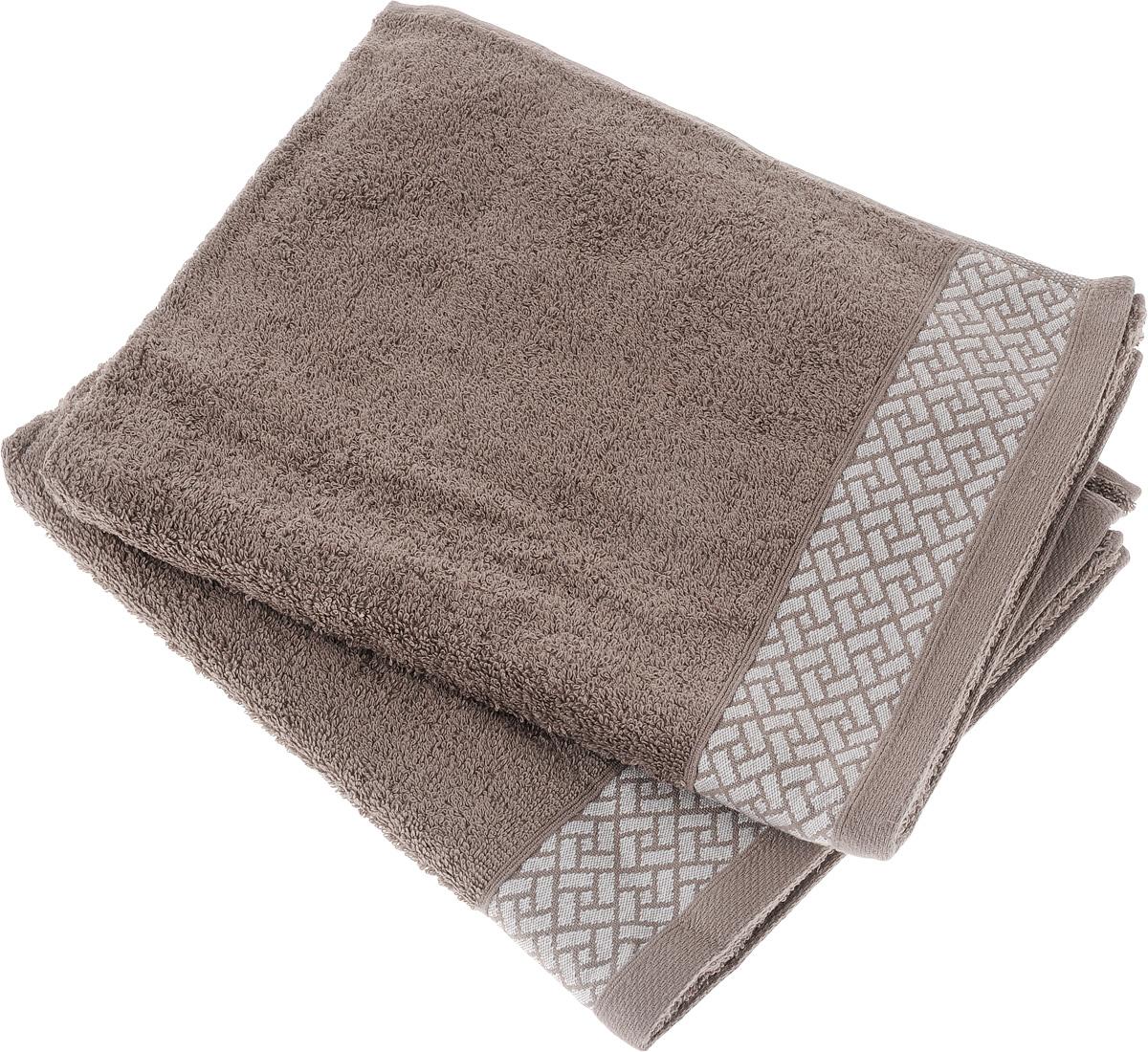 Набор полотенец Tete-a-Tete Лабиринт, цвет: кофе, 50 х 90 см, 2 шт. УП-009S03301004Набор Tete-a-Tete Лабиринт состоит из двух махровых полотенец, выполненных из натурального 100% хлопка. Бордюр полотенец декорирован геометрическим узором. Изделия мягкие, отлично впитывают влагу, быстро сохнут, сохраняют яркость цвета и не теряют форму даже после многократных стирок. Полотенца Tete-a-Tete Лабиринт очень практичны и неприхотливы в уходе. Они легко впишутся в любой интерьер благодаря своей нежной цветовой гамме.Размер полотенца: 50 х 90 см.