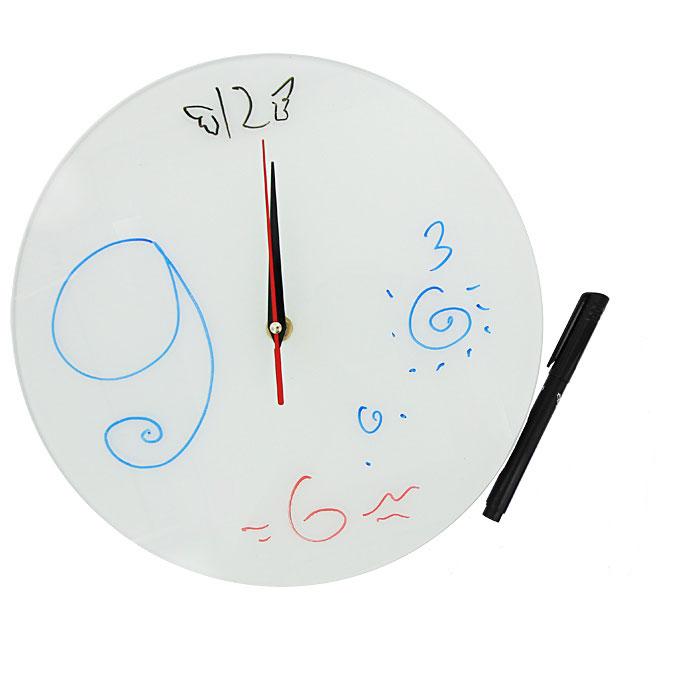 Часы настенные Эврика Нарисуй сам + маркер94672Настенные кварцевые часы Нарисуй сам своим необычным дизайном подчеркнут стильность и оригинальность интерьера вашего дома. Циферблат часов выполнен из стекла белого цвета. В комплект входит черный маркер, с помощью которого вы сможете сами создать дизайн ваших часов. Часы имеют три стрелки - часовую, минутную и секундную. На задней стенке часов расположена металлическая петелька для подвешивания.Такие часы послужат отличным подарком для ценителя ярких и необычных вещей. Характеристики:Материал: стекло, металл. Диаметр часов:28 см. Размер упаковки:30 см х 29 см х 5 см. Изготовитель:Россия. Артикул:93382. Рекомендуется докупить батарейку типа АА (не входит в комплект).