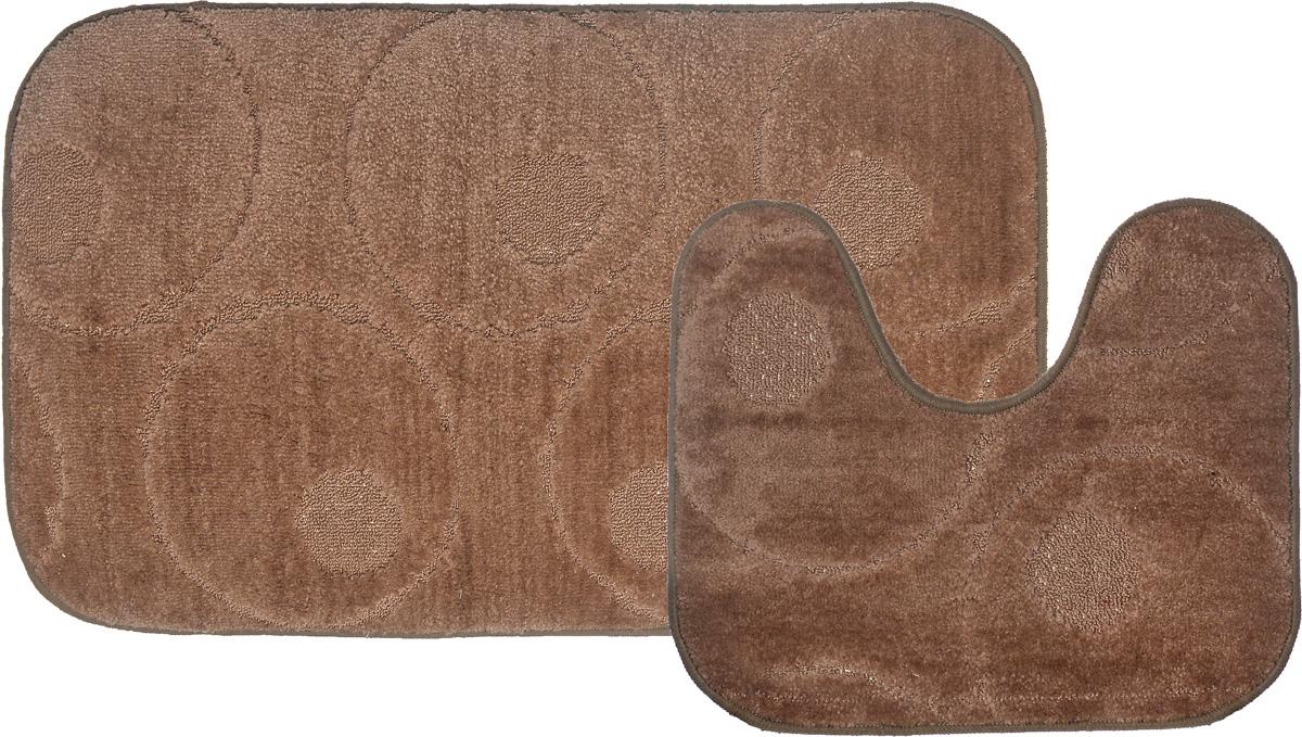 Набор ковриков для ванной MAC Carpet Рома. Круги, цвет: темно-бежевый, 60 х 100 см, 50 х 60 см, 2 шт11649-10004_бежевыйНабор MAC Carpet Рома. Круги состоит из двух ковриков для ванной комнаты, один из которых имеет вырез под унитаз. Ворс выполнен из полипропилена. Противоскользящее основание изготовлено из термопластичной резины. Коврики мягкие и приятные на ощупь, отлично впитывают влагу и быстро сохнут. Высокая износостойкость ковриков и стойкость цвета позволит вам наслаждаться покупкой долгие годы.