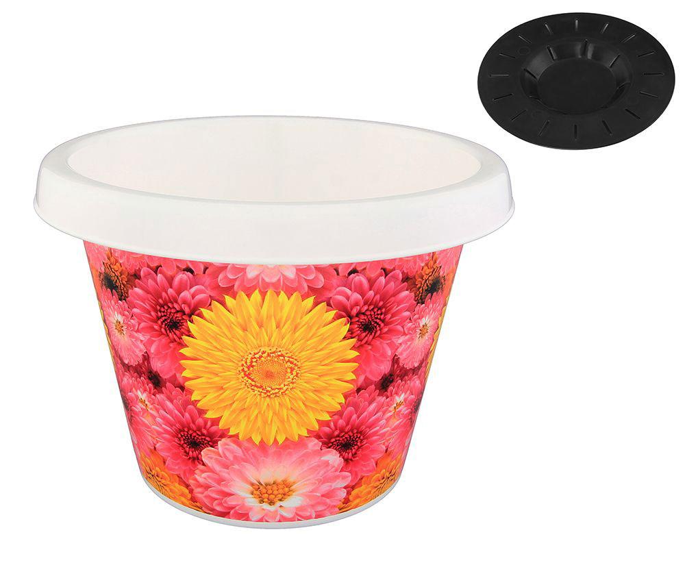 Кашпо Violet Хризантемы, с поддоном, 8 л30801/97Классическое кашпо с поддоном, выполненное из пластика, прекрасно подойдет для выращивания трав и цветов. Объём кашпо: 8 л.
