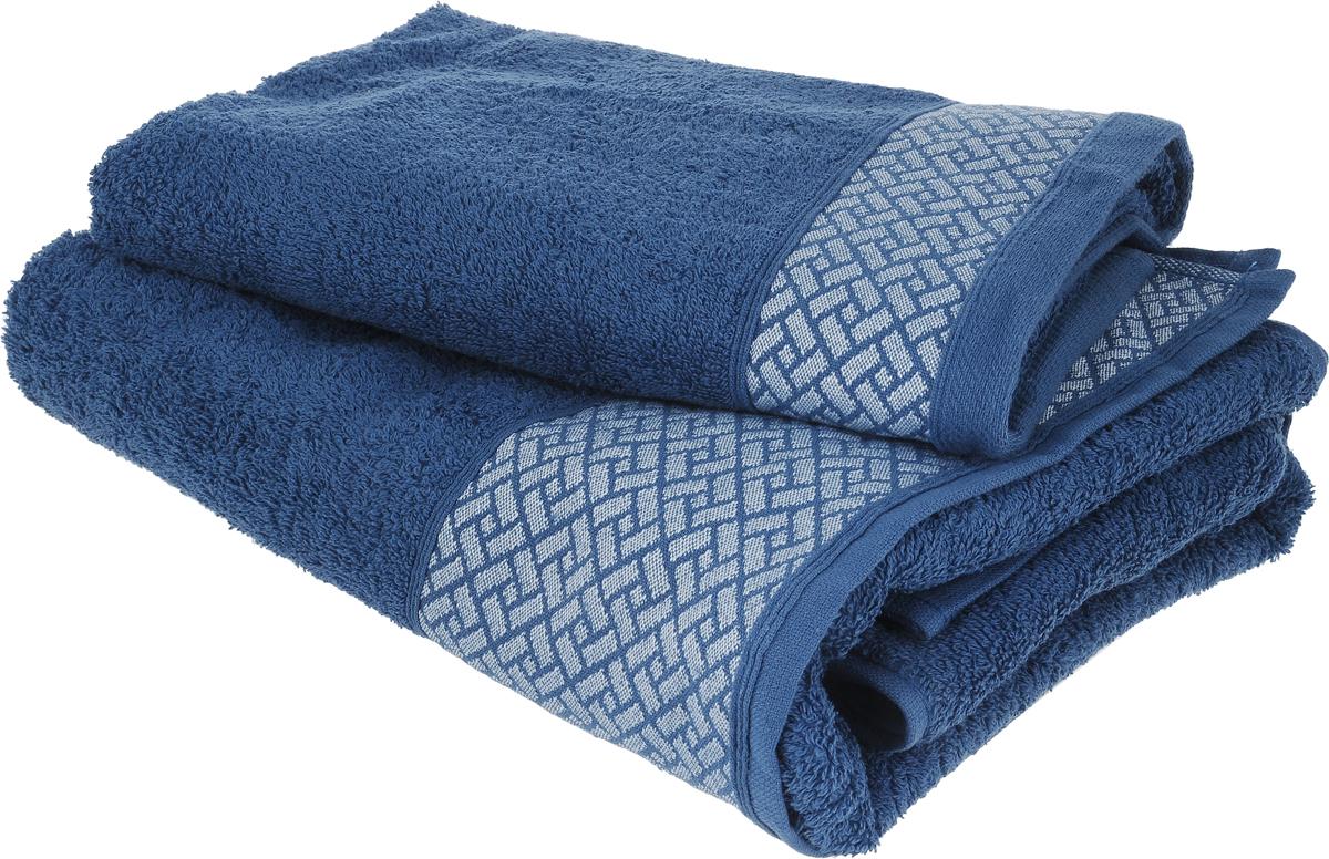 Набор полотенец Tete-a-Tete Лабиринт, цвет: синий, 2 шт. УНП-109-02кУНП-109-04кНабор Tete-a-Tete Лабиринт состоит из двух махровых полотенец, выполненных из натурального 100% хлопка. Бордюр полотенец декорирован геометрическим узором. Изделия мягкие, отлично впитывают влагу, быстро сохнут, сохраняют яркость цвета и не теряют форму даже после многократных стирок. Полотенца Tete-a-Tete Лабиринт очень практичны и неприхотливы в уходе. Они легко впишутся в любой интерьер благодаря своей нежной цветовой гамме. Набор упакован в красивую коробку и может послужить отличной идеей подарка.