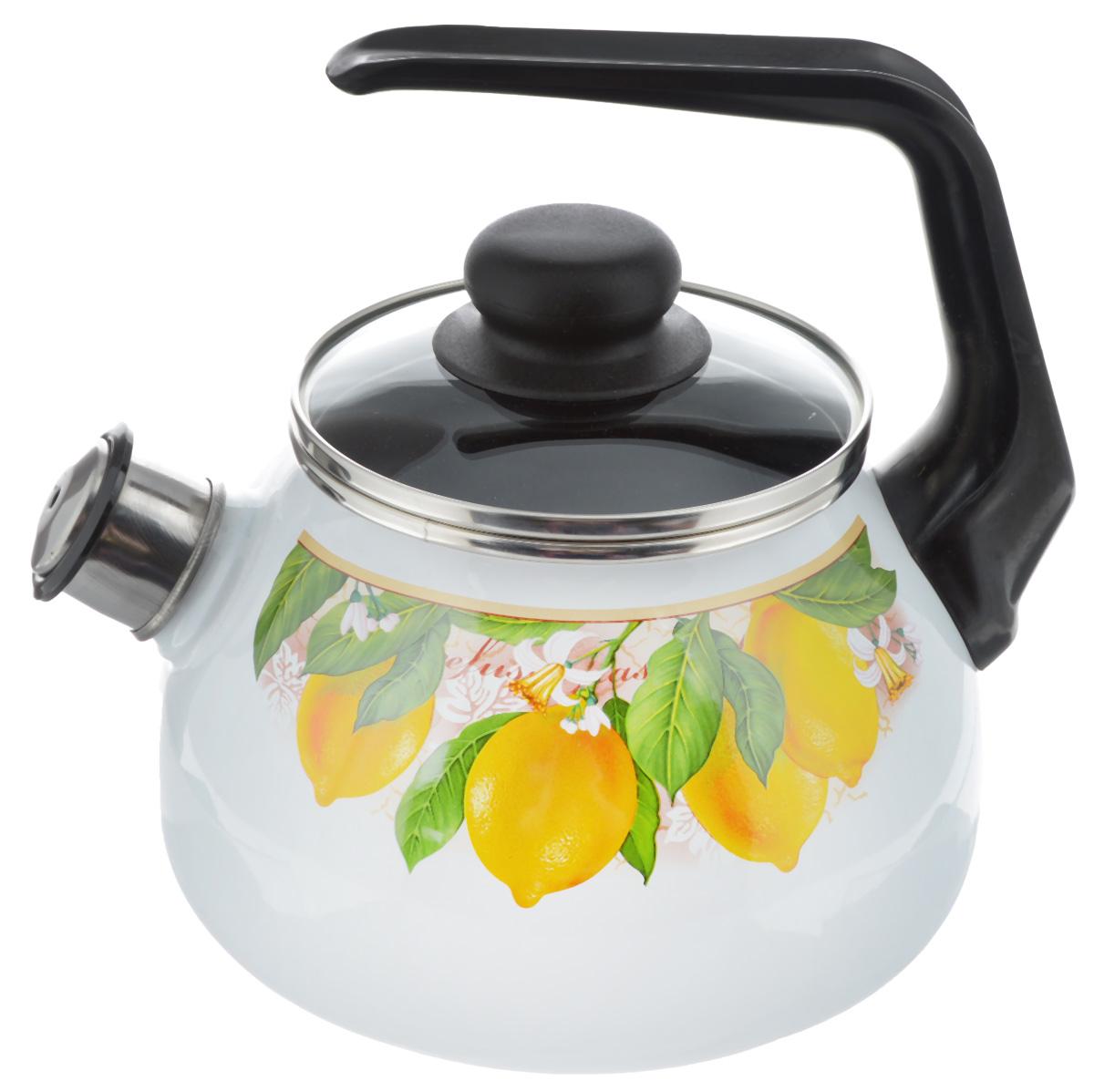 Чайник эмалированный Vitross Limon, со свистком, 2 л1RA12Чайник эмалированный Vitross Limon изготовлен из высококачественного стального проката со стеклокерамическим эмалевым покрытием. Корпус оформлен красочным цветочным рисунком. Стеклокерамика инертна и устойчива к пищевым кислотам, не вступает во взаимодействие с продуктами и не искажает их вкусовые качества. Прочный стальной корпус обеспечивает эффективную тепловую обработку пищевых продуктов и не деформируется в процессе эксплуатации. Чайник оснащен удобной пластиковой ручкой черного цвета. Крышка чайника выполнена из стекла. Носик чайника с насадкой-свистком позволит вам контролировать процесс подогрева или кипячения воды. Чайник пригоден для использования на всех видах плит, включая индукционные. Можно мыть в посудомоечной машине. Диаметр (по верхнему краю): 12,5 см. Высота чайника (с учетом ручки): 21 см. Высота чайника (без учета ручки и крышки): 12,5 см.