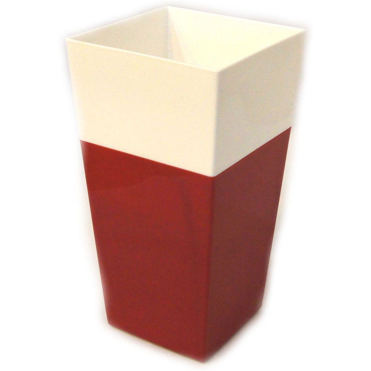 Кашпо JetPlast Дуэт, цвет: красный, белый, высота 34 см4612754052615Кашпо имеет строгий дизайн и состоит из двух частей: верхней части для цветка и нижней – поддона. Конструкция горшка позволяет, при желании, использовать систему фитильного полива, снабдив горшок веревкой. Оно изготовлено из прочного полипропилена (пластика). Размеры кашпо: 18 х 18 х 34 см.