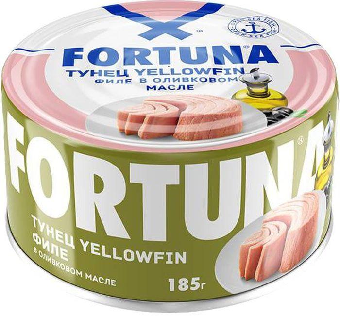 Fortuna тунец филе Yellowfin в оливковом масле, 185 г26130Плотное мясо нежно-розового цвета в натуральном оливковом масле. Вкусное, легкое и полезное диетическое блюдо, богатое белками, витамином D, жирными кислотами Омега-3, селеном, калием и натрием.