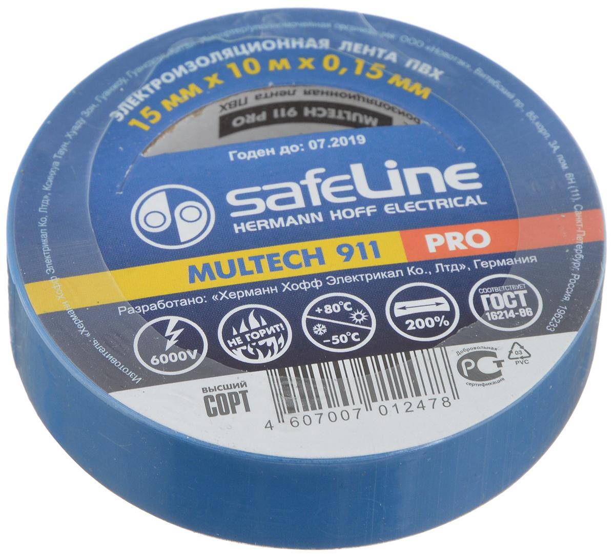 Лента изоляционная Safelin Pro, цвет: синий, ширина 1,5 см, длина 10 м9359Изоляционная лента Safelin Pro сделана из поливинилхлорида - материала, известного своей эластичностью и прочностью. Изолента применяется для изоляции проводов и проведения электромонтажных работ, отлично подходит для маркировки проводов и служит средством для починки бытовых электроприборов. Safelin Pro обладает рядом преимуществ: - напряжение пробоя 6000V, - не горит, - выдерживает температуру от -50°С до +80°С.