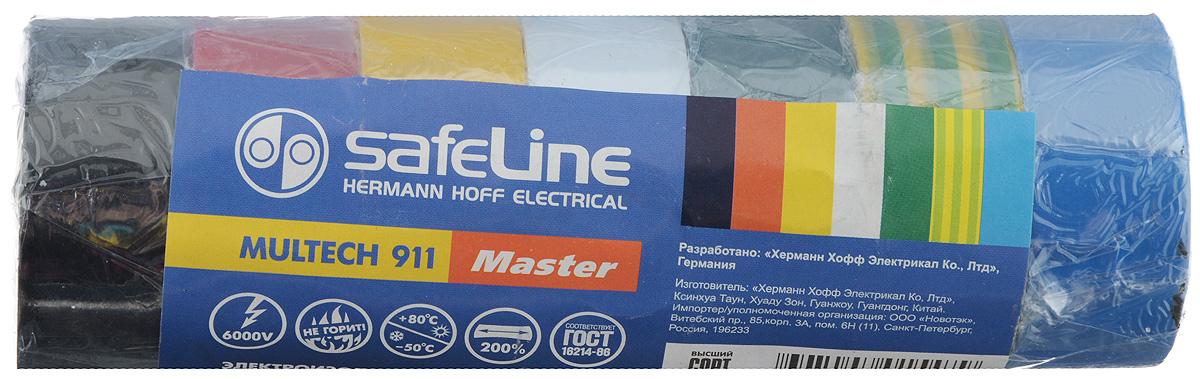 Лента изоляционная Safelin Master, ширина 1,9 см, длина 5 м, 7 шт80621Изоляционная лента Safelin Master сделана из поливинилхлорида - материала, известного своей эластичностью и прочностью. Изолента применяется для изоляции проводов и проведения электромонтажных работ, отлично подходит для маркировки проводов и служит средством для починки бытовых электроприборов.Safelin Master обладает рядом преимуществ:- напряжение пробоя 6000V,- не горит,- выдерживает температуру от -50°С до +80°С.