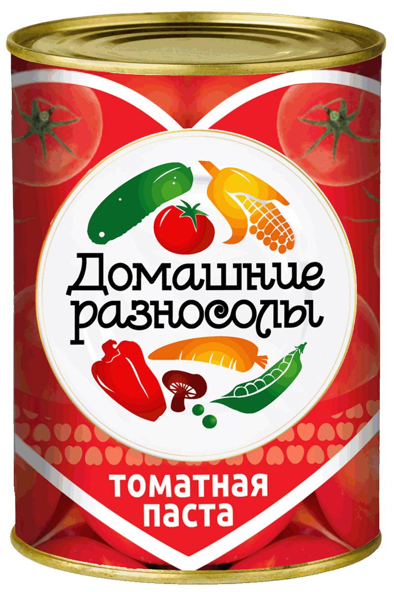 Домашние разносолы томатная паста, 380 г0205814051110000Томатная паста, или томат-паста – это продукт, изготовленный из протертых уваренных помидоров. Томатная паста отличается от томатного пюре концентрацией – в ней больше сухих веществ помидоров, чем в томатном пюре. ГОСТ Р 54678-2011. Массовая доля растворимых сухих веществ 25%.