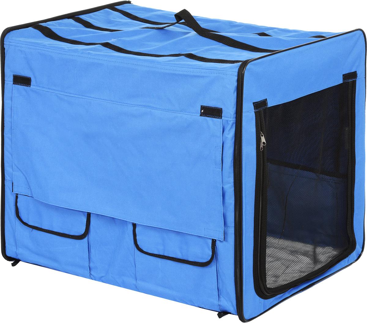 "Клетка для животных ""Заря-Плюс"", выставочная, цвет: голубой, черный, 75 х 60 х 50 см КТС2г"