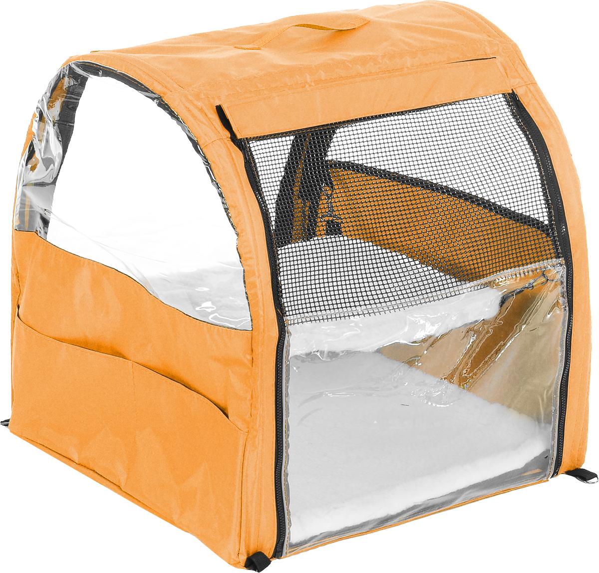 Клетка для животных Заря-Плюс, выставочная, цвет: оранжевый, черный, 51 х 58 х 55 смКВП1оКлетка для животных Заря-Плюс предназначена для показа кошек и собак на выставках. Она изготовлена из плотного текстиля и имеет полукруглую форму. Каркас состоит из дуг. Лицевая сторона палатки выполнена из пленки, которая может полностью отстегиваться. Обратная сторона палатки выполнена наполовину из сетки, наполовину из пленки. С двух сторон клетки имеются вместительные карманы, куда вы можете положить все необходимое. Клетка снабжена съемной подстилкой и гамаком из искусственного меха. В собранном виде клетка довольно компактна, при хранении занимает мало места. Палатка переносится в чехле, который входит в комплект.
