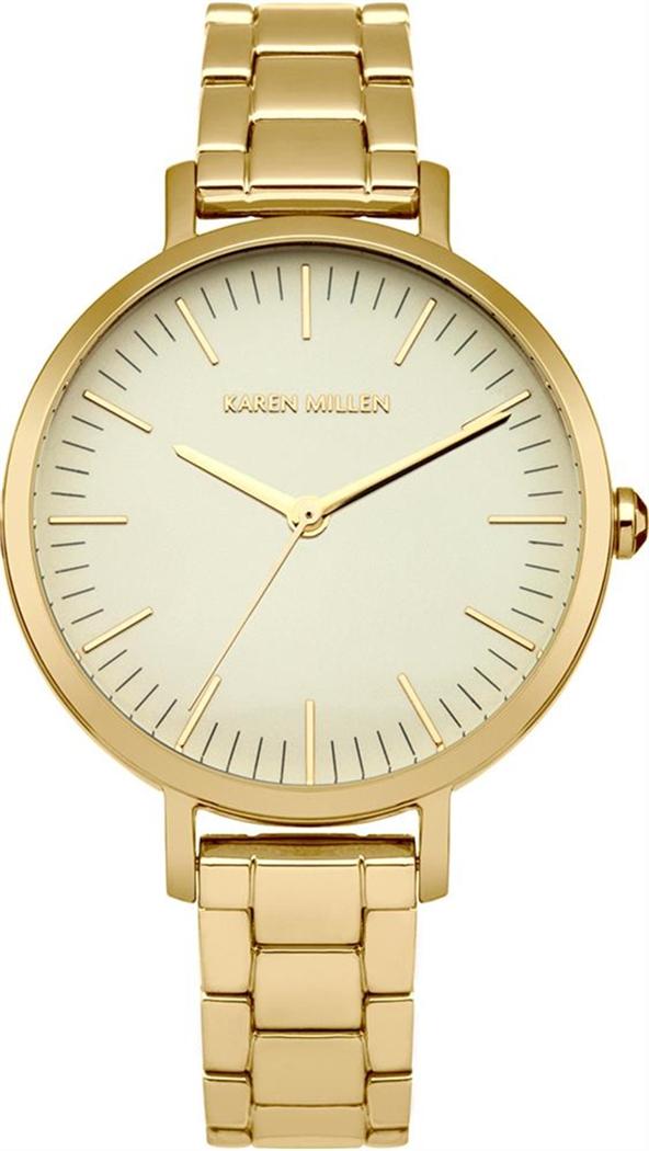 Наручные часы женские Karen Millen, цвет: золотой. KM126GMKM126GM3-стрелочный механизм VJ21; IP Gold покрытие; Диаметр 33 мм; Минеральное стекло; Циферблат золотого цвета; Нет камней; Браслет из нерж. стали с IP-покрытием; Водозащита 3 ATM