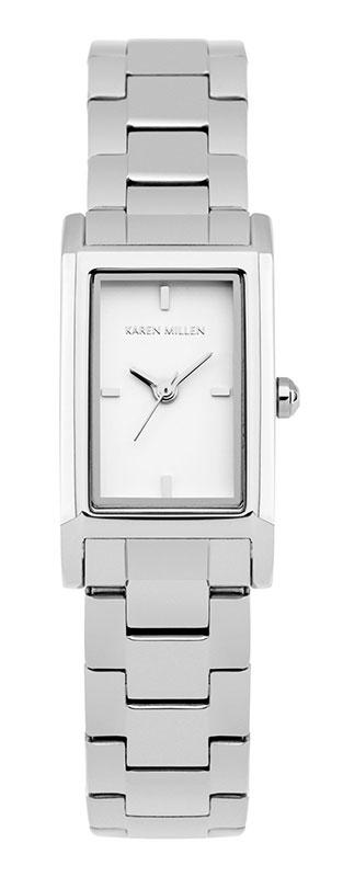 Наручные часы женские Karen Millen, цвет: серебряный. KM114SMKM114SM3-стрелочный механизм PC11; IP Silver-покрытие; 18.2 x 31.8 мм; Минеральное стекло; Белый глянцевый циферблат; Браслет из нержавеющей стали с IPS-покрытием; Водозащита 3 АТМ