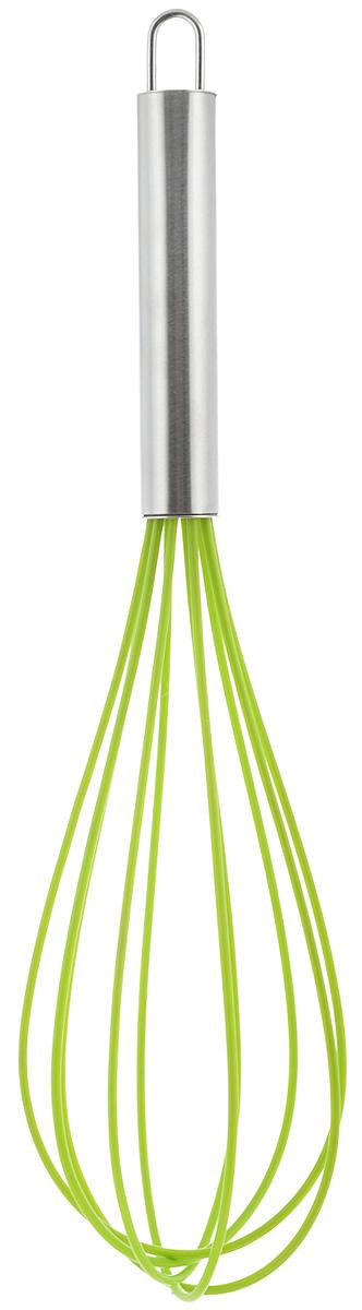 """Венчик силиконовый """"Paterra"""", цвет: салатовый, стальной, стальной, длина 30 см 402-447_салатовый"""