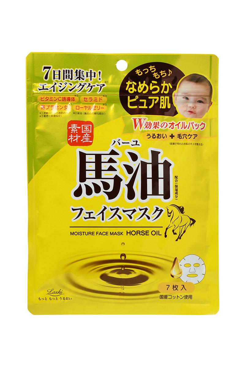 Cosmetex Roland Маска для лица увлажняющая и подтягивающая с лошадиным маслом и экстрактом плаценты Loshi, 7 шт х 80 мл10081crМаска, благодаря активным компонентам, увлажняет и питает зрелую кожу. Лошадиное масло считается сходным по составу с кожей человека и богато незаменимыми жирными кислотами и витаминами, обладает высоким увлажняющим действием и глубоким проникновением (до рогового слоя). Экстракт лошадиной плаценты – лидер по содержанию питательных веществ, оказывает мощное энергетическое воздействие, активизирует клеточное дыхание, значительно улучшается метаболизм. При регулярном использовании упругость и эластичность кожи значительно повышаются (маточное молочко, церамиды, гиалуроновая кислота, коллаген), происходит сужение пор, выравнивается тон (лошадиная плацента, дериват витамина С), кожа выглядит более подтянутой, свежей, молодой (экстракт семян бусенника, сок алоэ вера, экстракт листьев персикового дерева). Основа маски - хлопок японского производства. Способ использования: 1. Предварительно очистить кожу лица, смыв загрязнения. 2. Вынуть маску чистыми руками,...