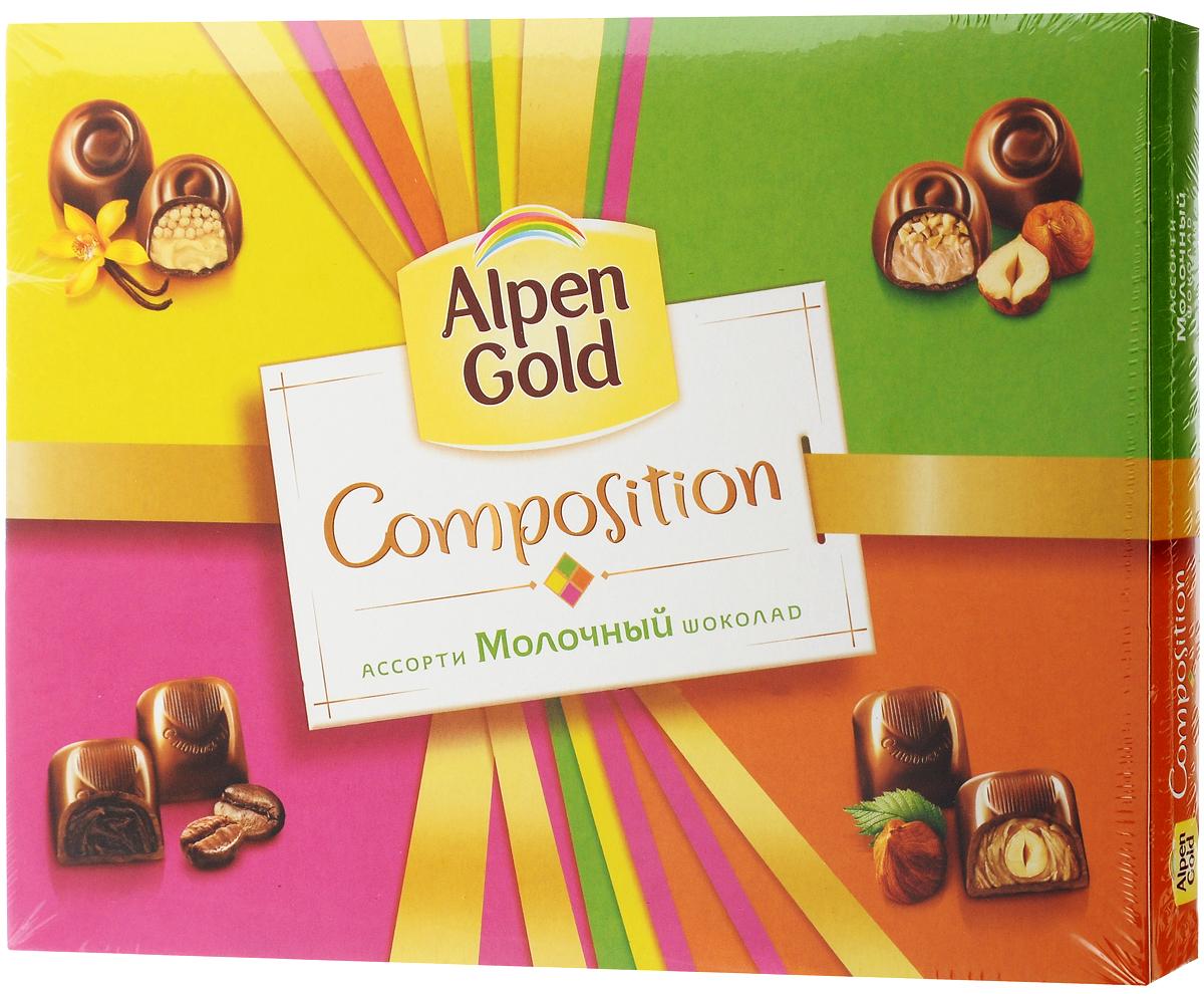Alpen Gold Composition конфеты шоколадные ассорти, 142 г0120710Alpen Gold Composition ассорти представляет собой набор из четырех видов традиционных конфет. Это конфеты с шоколадной начинкой со вкусом капучино, ванильной начинкой и воздушным рисом, цельным фундуком в кремовой начинке, и дробленым фундуком в кремовой начинке. Сладости помещены в картонную коробку с пластиковым разделителем внутри. В коробке по пять конфет каждого вида.Уважаемые клиенты! Обращаем ваше внимание, что перечень типичного химического состава продукта представлен на дополнительном изображении.