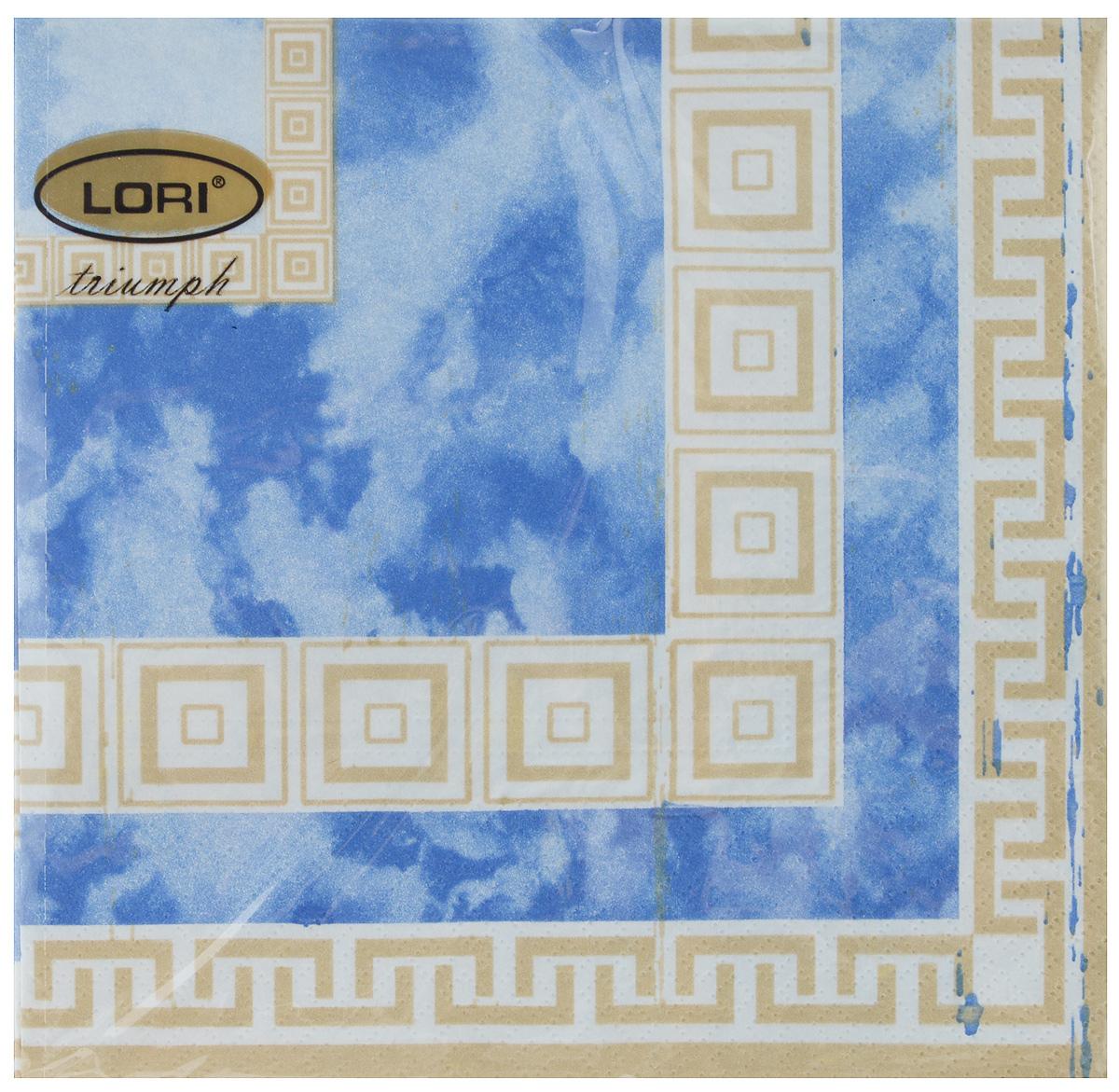Салфетки бумажные Lori Triumph, трехслойные, цвет: синий, светло-коричневый, 33 х 33 см, 20 шт56135Декоративные трехслойные салфетки Lori Triumph выполнены из 100% целлюлозы и оформлены ярким рисунком. Изделия станут отличным дополнением любого праздничного стола. Они отличаются необычной мягкостью, прочностью и оригинальностью. Размер салфеток в развернутом виде: 33 х 33 см.