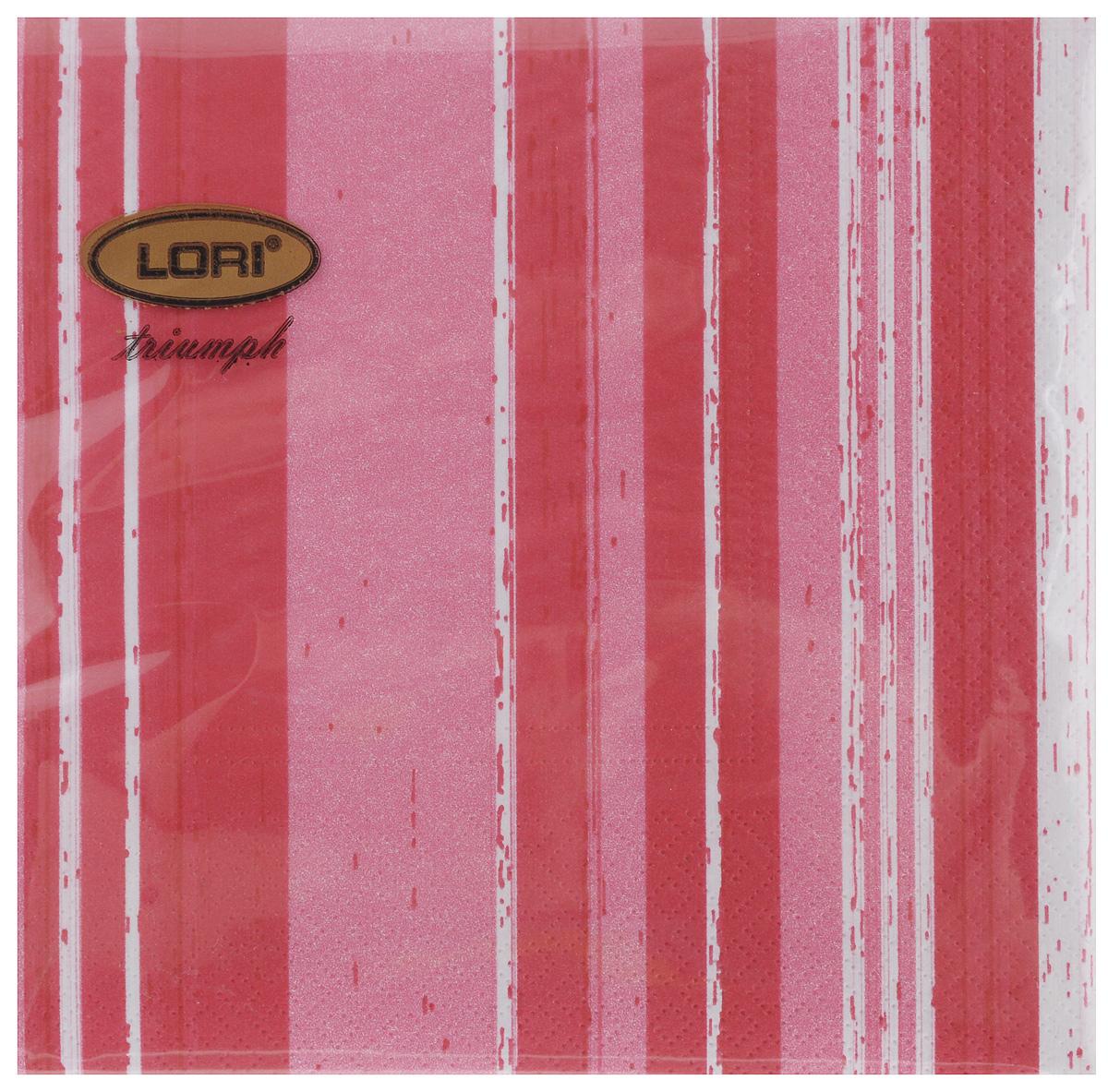 Салфетки бумажные Lori Triumph Полоски, трехслойные, цвет: красный, белый, 33 х 33 см, 20 шт56057Декоративные трехслойные салфетки Lori Triumph Полоски выполнены из 100% целлюлозы и оформлены ярким рисунком. Изделия станут отличным дополнением любого праздничного стола. Они отличаются необычной мягкостью, прочностью и оригинальностью. Размер салфеток в развернутом виде: 33 х 33 см.
