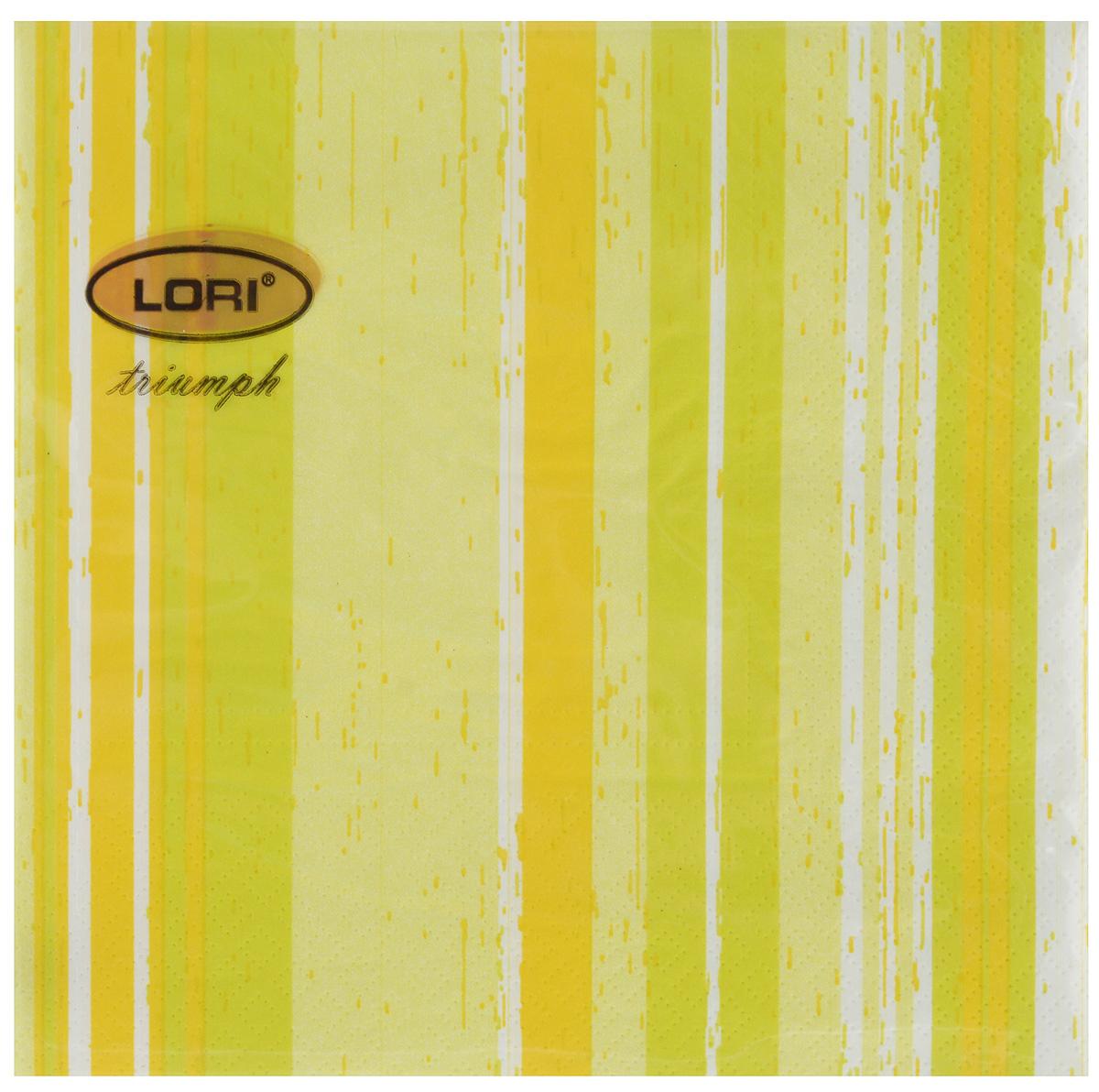 Салфетки бумажные Lori Triumph Полоски, трехслойные, цвет: салатовый, белый, 33 х 33 см, 20 шт56057Декоративные трехслойные салфетки Lori Triumph Полоски выполнены из 100% целлюлозы и оформлены ярким рисунком. Изделия станут отличным дополнением любого праздничного стола. Они отличаются необычной мягкостью, прочностью и оригинальностью. Размер салфеток в развернутом виде: 33 х 33 см.