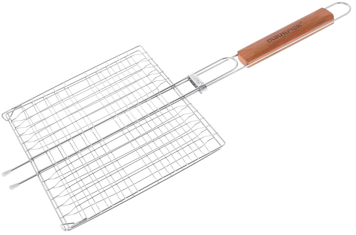 Решетка-гриль Пикничок Альпийская, 4 секции, 26,5 х 24 см401-770Решетка-гриль Пикничок Альпийская изготовлена из высококачественной стали, поэтому при длительном использовании она не теряет своей формы, а так же вы легко удалите с нее остатки пищи. В решетке-гриль 4 секции, удобно готовить мясо, рыбу, морепродукты и овощи одновременно, избегая соприкосновения продуктов между собой. Решетка- гриль Пикничок Альпийская рассчитана на 4 порции и небольшую компанию. Рукоятка изделия оснащена деревянной вставкой и фиксирующей скобой, которая зажимает створки решетки. Размер рабочей поверхности решетки (без учета усиков): 26,5 х 24 см. Общая длина решетки (с ручкой): 60 см.