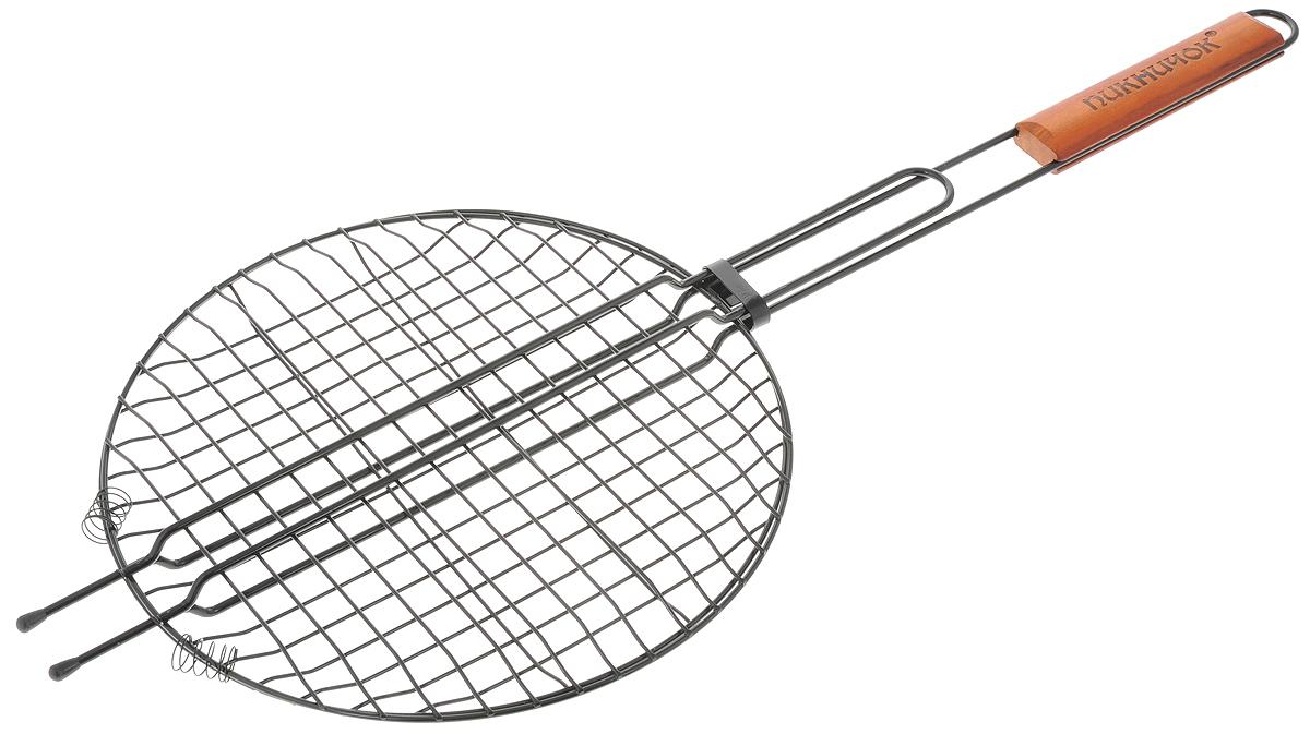 Решетка-гриль Пикничок Сицилийская, круглая, с антипригарным покрытием, диаметр 30 см401-022Решетка-гриль Пикничок Сицилийская изготовлена из высококачественной стали с антипригарным покрытием, поэтому при длительном использовании она не теряет своей формы, а так же вы легко удалите с нее остатки пищи. В решетке-гриль удобно готовить мясо, рыбу, морепродукты и овощи. Оригинальная форма решетки позволяет готовить в ней различные блюда нестандартной или круглой формы, например, пиццу или различные запеканки. Рукоятка изделия оснащена деревянной вставкой и фиксирующей скобой, которая зажимает створки решетки. Диаметр рабочей поверхности решетки (без учета усиков): 30 см. Глубина решетки: 3 см. Общая длина решетки (с ручкой): 72 см.