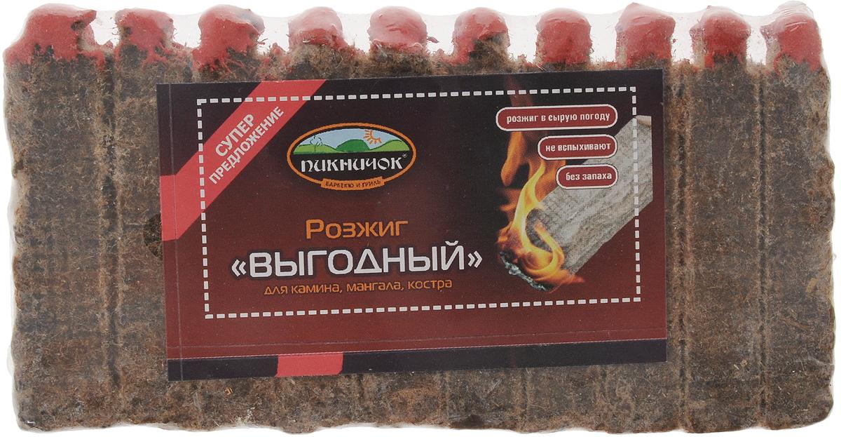 Средство для розжига Пикничок Выгодный, 10 брусков401-395Розжиг Пикничок Выгодный в виде брусочков применяется для розжига угля, дров в мангалах, жаровнях, каминах, для розжига костров. Парафин, которым пропитана прессованная древесина, позволяет использовать розжиг и в сырую погоду. Способ применения: поштучно отломите необходимое количество брусочков, каждый подожгите, положите между углями или дровами. 1 брусок горит примерно 5-6 мин.