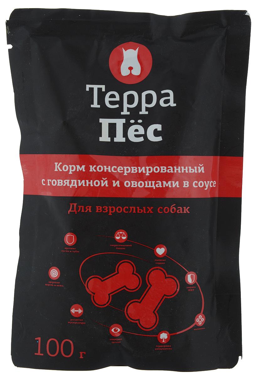 Консервы Терра Пес для взрослых собак, с говядиной и овощами в соусе, 100 г0120710Консервы для взрослых собак Терра Пес - полнорационный сбалансированный корм, который идеально подойдет вашему питомцу. В рацион домашнего любимца нужно обязательно включать консервированный корм, ведь его главные достоинства - высокая калорийность и питательная ценность. Консервы лучше усваиваются, чем сухие корма. Также важно, чтобы животные, имеющие в рационе консервированный корм, получали больше влаги.Товар сертифицирован.