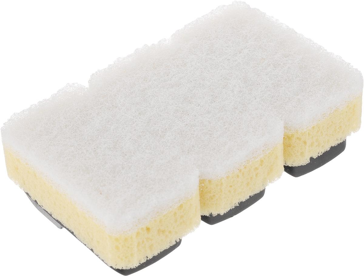 Губка Dishmatic, сменная, для деликатных поверхностей, 3 шт116-01-1256/4805Набор Dishmatic предназначен для замены изношенных губок в изделиях бренда Dishmatic. Губка отлично очищает загрязнения, а мягкий внутренний слой хорошо впитывает и вспенивает моющее средство. Изделие подходит для антипригарных покрытий и других чувствительных поверхностей. Губки изготовлены из переработанных материалов. Они позволяют позаботиться не только о чистоте в доме, но и о природе. Размер одной губки: 7,6 х 4,2 х 2,4 см.