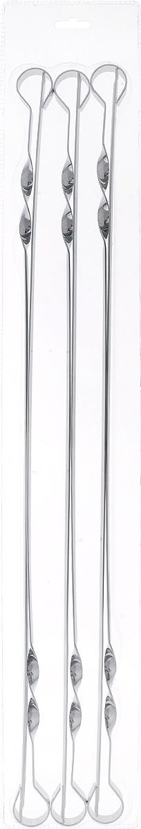Набор шампуров Пикничок, длина 60 см, 6 шт401-606Шампуры Пикничок изготовлены из прочной и безопасной пищевой стали с антикоррозийным покрытием. Благодаря удобной витой ручке, шампуры плотно располагаются в пазах мангала и за счет этого не проворачиваются, что облегчает процесс жарки шашлыка, а также способствует максимально равномерному приготовлению продукта. Заостренные окончания шампуров позволяют насаживать ломтики легко, быстро, безопасно и, вместе с тем аккуратно – сохраняя их целостность. Толщина шампуров оптимальна для того, чтобы во время приготовления шашлыка они не прогибались и не деформировались под тяжестью нанизанных продуктов. Рекомендуемая нагрузка для одного шампура не более 400 грамм. Профильные шампуры за счет своей удобной формы идеально подходят для приготовления куриных окорочков и ребрышек. Толщина шампура: 1,5 мм.
