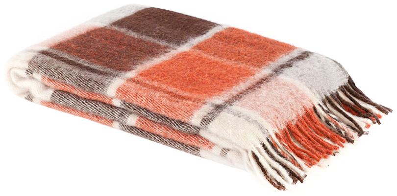 Плед Пиросмани, цвет: белый, оранжевый, темно-коричневый, 140 х 200 см. 1-206-140_17531-401Мягкий и приятный плед Пиросмани изготовлен из 100% новозеландской овечьей шерсти. Плед добавит комнате уюта и согреет в прохладные дни. Такое теплое украшение может стать отличным подарком друзьям и близким! Под шерстяным пледом вам никогда не станет жарко или холодно, он помогает поддерживать постоянную температуру тела. Шерсть обладает прекрасной воздухопроницаемостью, она поглощает и нейтрализует вредные вещества и славится своими целебными свойствами. Плед из шерсти станет лучшим лекарством для людей, страдающих ревматизмом, радикулитом, головными и мышечными болями, сердечно-сосудистыми заболеваниями и нарушениями кровообращения. Шерсть не электризуется. Она прочна, износостойка, долговечна. Наконец, шерсть просто приятна на ощупь, ее мягкость и фактура вызывают потрясающие тактильные ощущения!Пиросмани - коллекция пледов с кистями, уменьшенной плотности из 100% натуральной новозеландской овечьей шерсти. Характеристики:Материал: 100% новозеландская овечья шерсть. Цвет: белый, оранжевый, темно-коричневый. Размер пледа: 140 см х 200 см. Размер упаковки: 48 см х 10 см х 37 см. Артикул: 1-206-140_17.